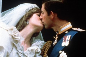 Prince Charles and Princess Diana kiss